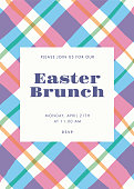 Easter invitation template with stripes