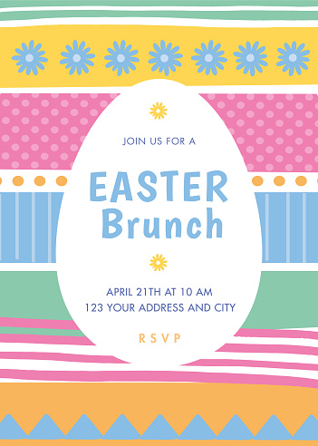 Easter invitation template with stripes.