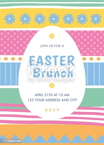 istock Easter invitation template with stripes. 1210603106