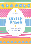 Easter invitation template with stripes. Stock illustration