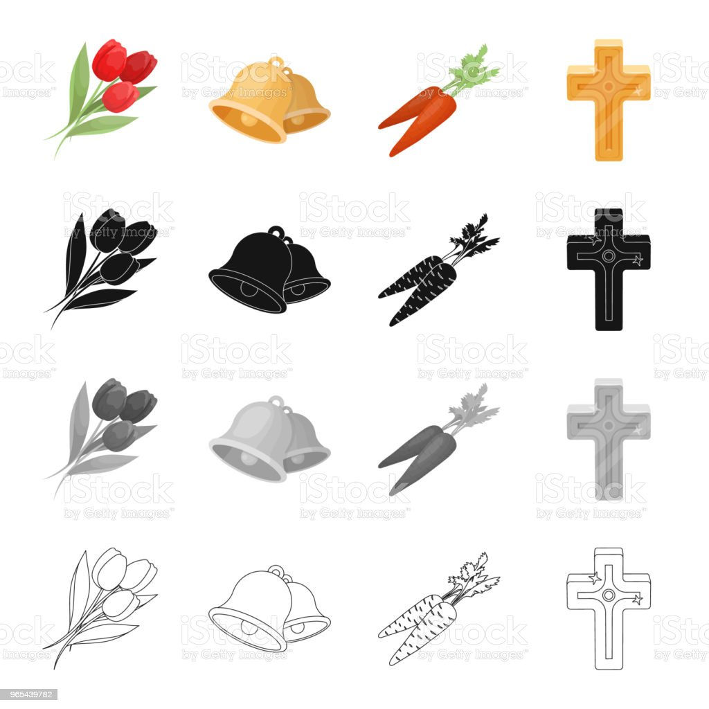 Pâques est une fête chrétienne cartoon contour en monochrome noir des icônes dans collection de jeu pour la conception. Attributs de Pâques vector illustration web stock symbole. - clipart vectoriel de Accessoire libre de droits