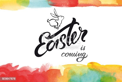 Easter lettering with running line art bunny and multicolored watercolor borders.