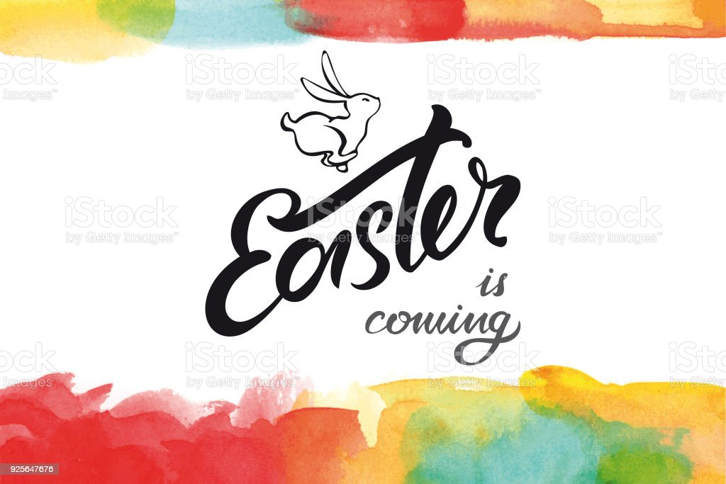 Easter is coming greeting card vector art illustration