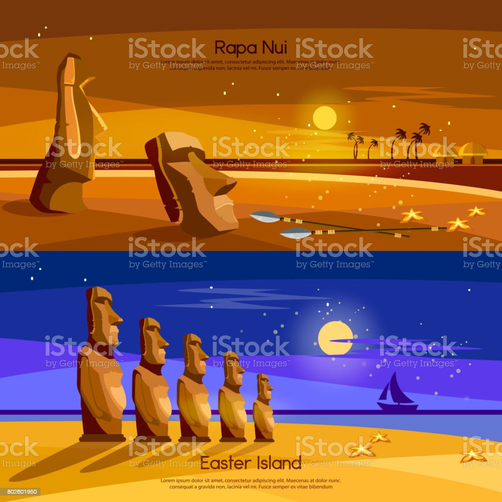 Easter Island banners, Moai statues of Easter island landscape Polynesia. Stone idols.  Tourism and vacation tropical background vector art illustration