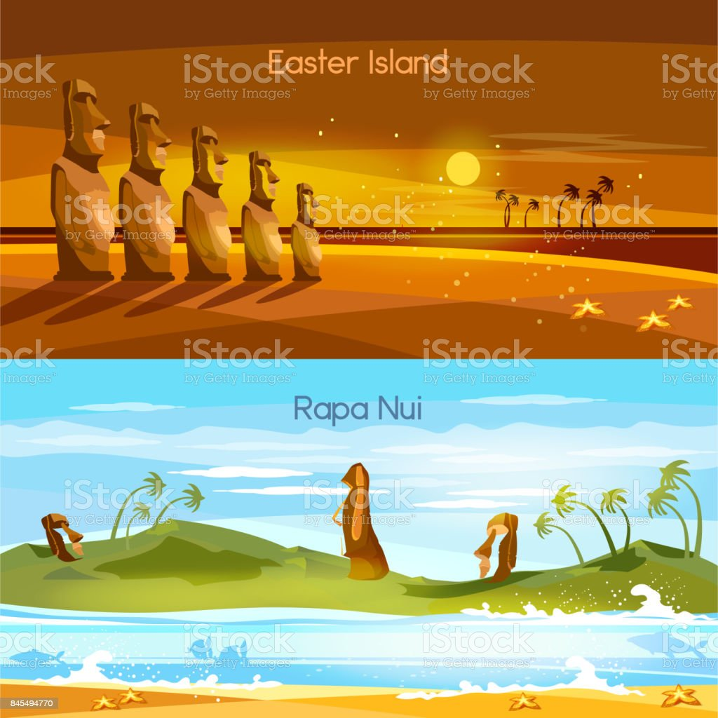Easter Island landscape banners, Moai statues of Easter island landscape Polynesia. Stone idols. Tourism and vacation tropical background vector art illustration