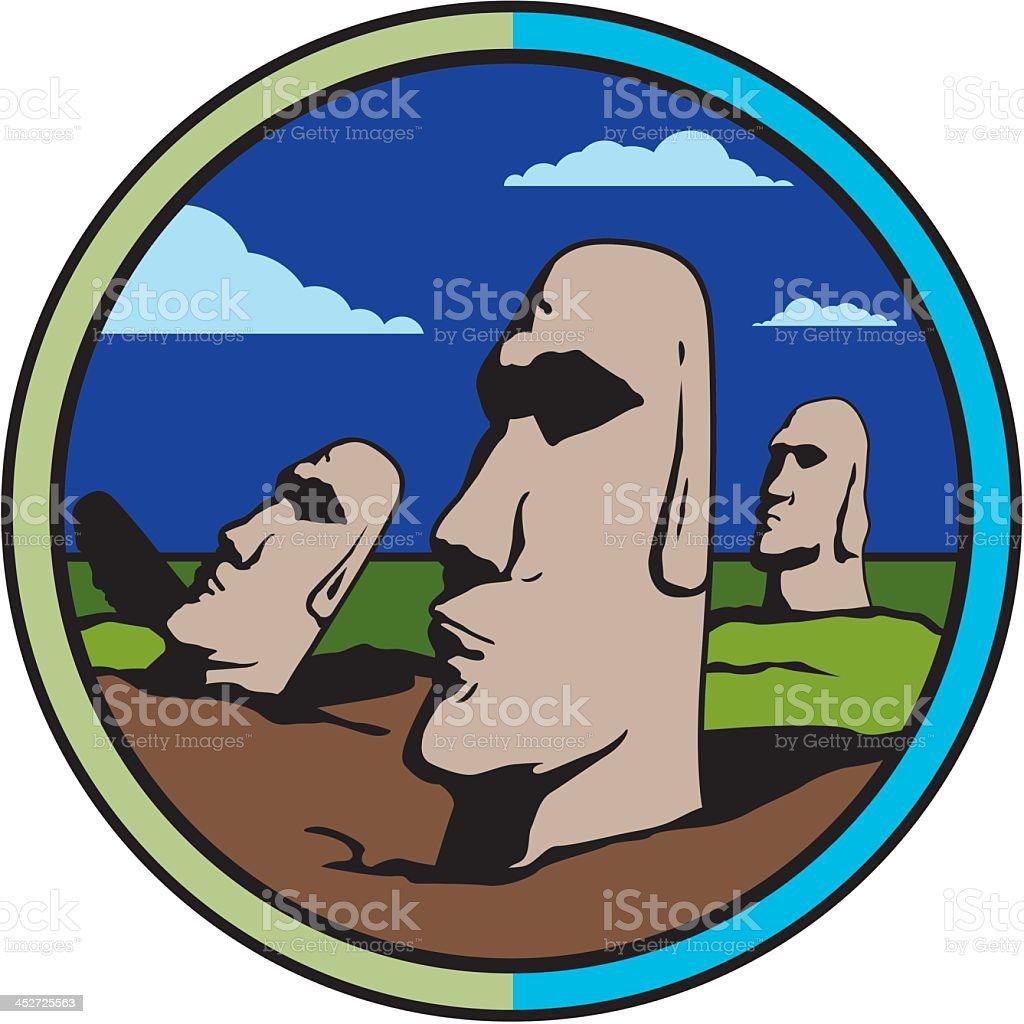 Easter Island Moai vector art illustration