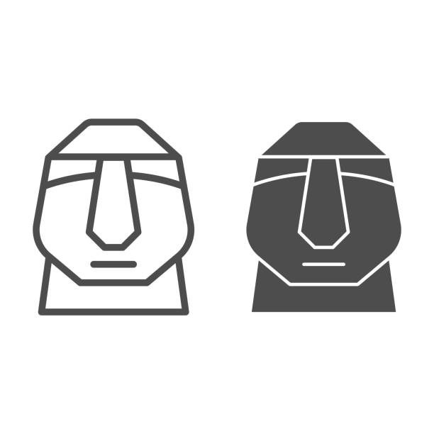 Easter island stone moai line and solid icon. Easter Island tiki head statue outline style pictogram on white background. Chile polynesian sculpture for mobile concept and web design. Vector graphics. Easter island stone moai line and solid icon. Easter Island tiki head statue outline style pictogram on white background. Chile polynesian sculpture for mobile concept and web design. Vector graphics ancient civilization stock illustrations