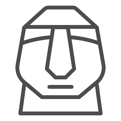 Easter island stone moais line icon. Easter Island tiki head statue outline style pictogram on white background. Chile polynesian sculpture for mobile concept and web design. Vector graphics.