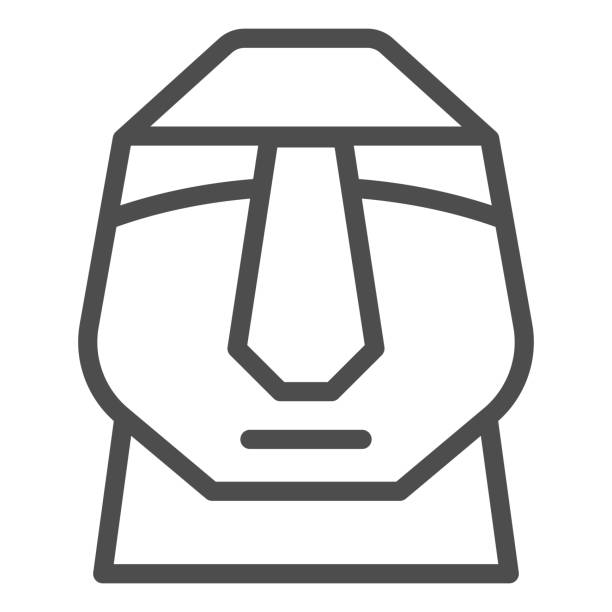 Easter island stone moais line icon. Easter Island tiki head statue outline style pictogram on white background. Chile polynesian sculpture for mobile concept and web design. Vector graphics. Easter island stone moais line icon. Easter Island tiki head statue outline style pictogram on white background. Chile polynesian sculpture for mobile concept and web design. Vector graphics ancient civilization stock illustrations
