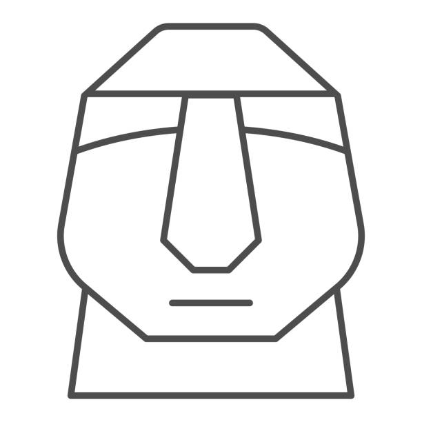 Easter island stone moais thin line icon. Easter Island tiki head statue outline style pictogram on white background. Chile polynesian sculpture for mobile concept and web design. Vector graphics. Easter island stone moais thin line icon. Easter Island tiki head statue outline style pictogram on white background. Chile polynesian sculpture for mobile concept and web design. Vector graphics ancient civilization stock illustrations