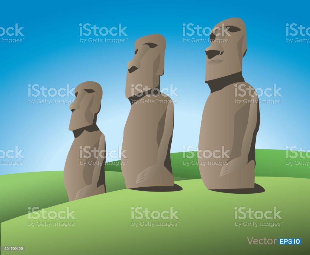 Easter Island vector art illustration
