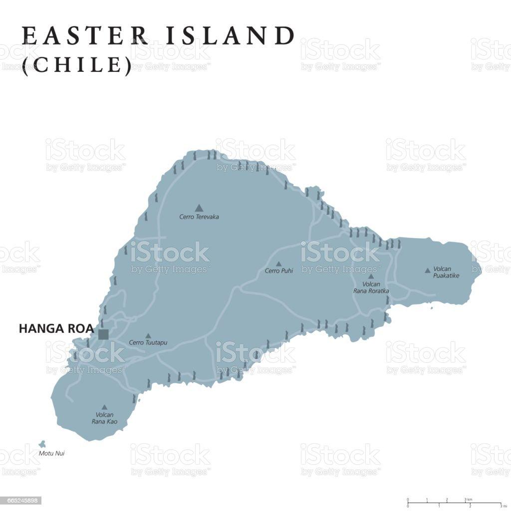 Easter Islands political map vector art illustration
