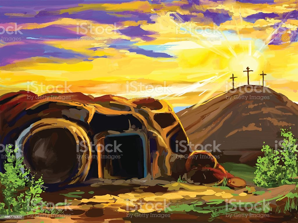Easter Jesus Christ vector illustration hand drawn painted watercolor