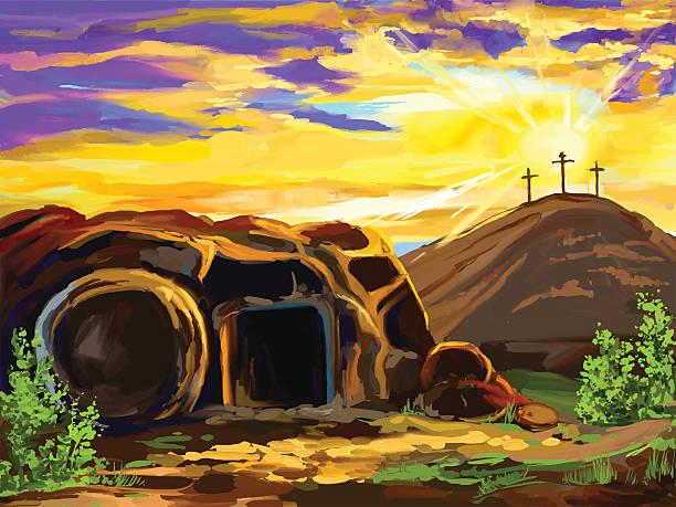 stockillustraties, clipart, cartoons en iconen met easter jesus christ vector illustration  hand drawn  painted - graftombe