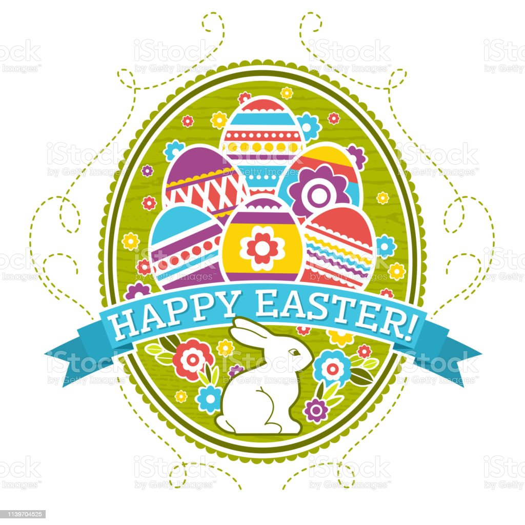 Easter label with color eggs, rabbit and flowers. Holiday Easter...