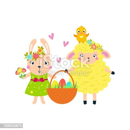 istock Easter lamb, rabbit chick carry a basket of eggs. 1308333870
