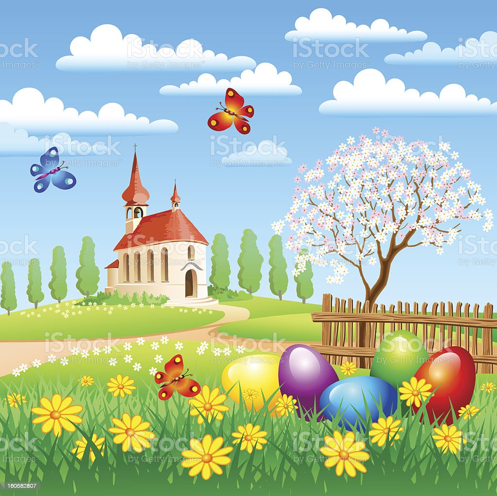 easter landscape stock vector art more images of butterfly