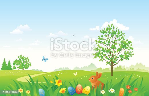 istock Easter landscape with a bunny 513691640