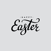 Happy Easter lettering card. Hand drawn lettering poster for Easter. Vector illustration. Happy Easter typography background.