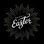 Happy Easter Typographical Background with firework. Handwritten lettering for Poster or Greeting Card. Vector illustration.
