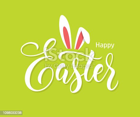 Hand drawn lettering with bunny ears on bright green background. Happy Easter banner or greeting card design with modern calligraphy, text, typography.