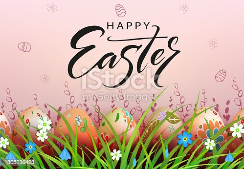 istock Easter light composition, multi-colored eggs in the grass with flowers 1305236423