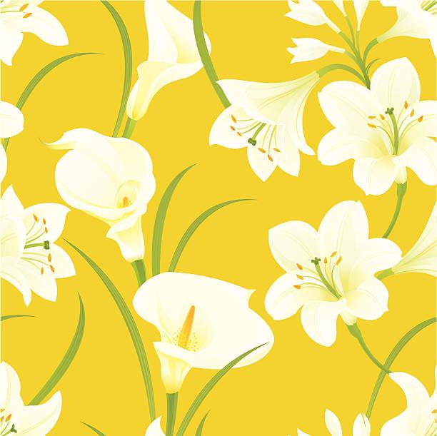 Easter Lilies Pattern vector art illustration