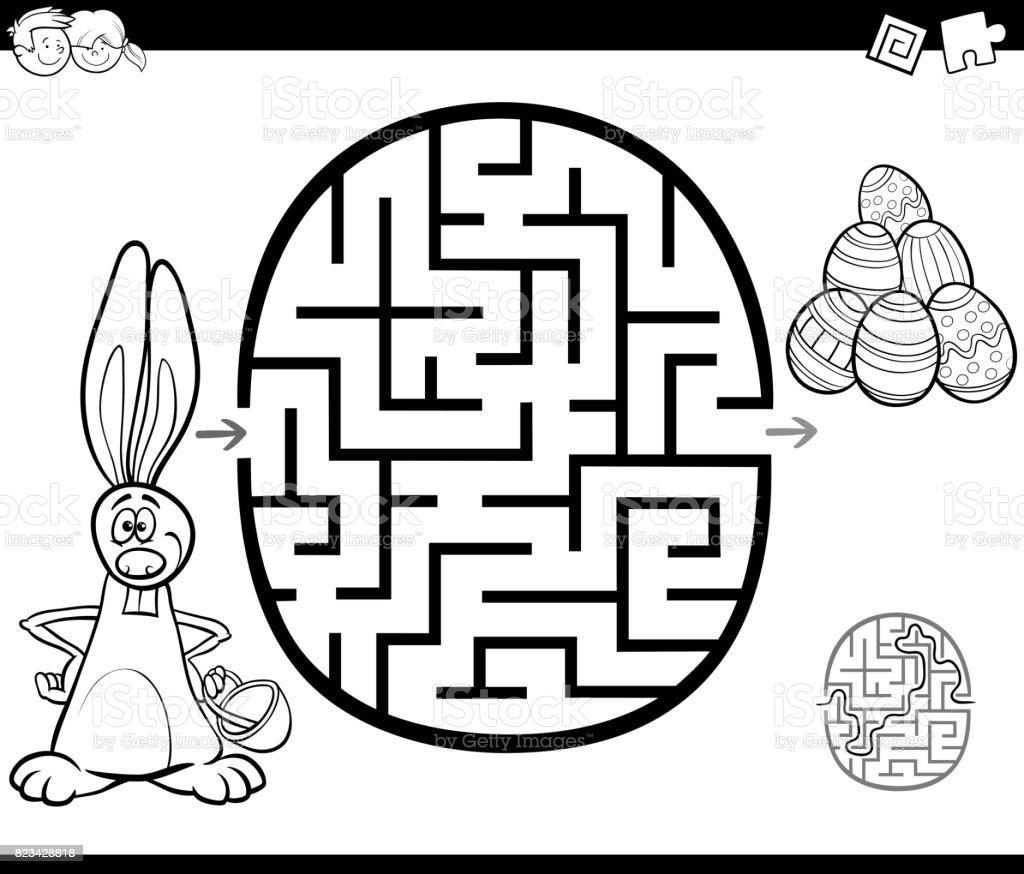 Actividad De Laberinto De Pascua Para Colorear - Arte vectorial de ...