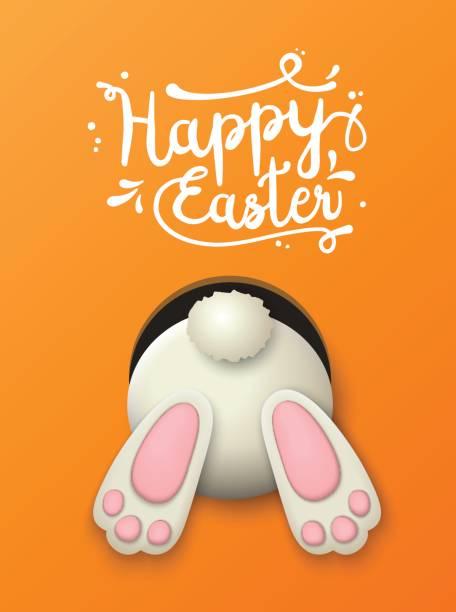 easter motive, bunny bottom on orange background, illustration - rabbit stock illustrations