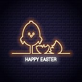 Easter neon sign. Happy easter neon banner with chick and egg on wall background 10 eps