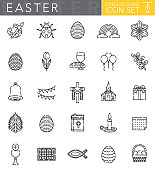 A group of 25 Easter themed 'open outline' thin line icons. File is built in the CMYK color space for optimal printing. Icons are grouped and easy to isolate.