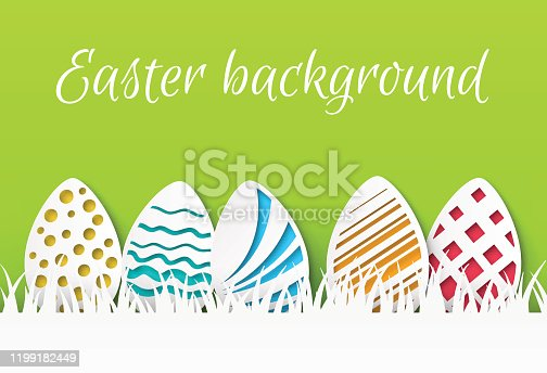 Easter paper cut. Colorful easter eggs with papercut pattern, greeting card template, celebration event flyer. Vector craft decor background