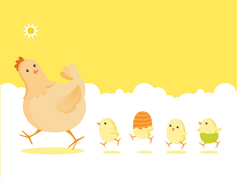 Easter Partridge Family: Mother Hen and Newborn Baby Chicks