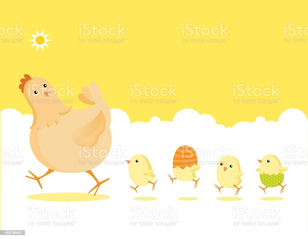 Easter Partridge Family: Mother Hen and Newborn Baby Chicks vector art illustration