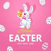 An invitation to the Easter egg hunt party with bunny on the pink background of eggs