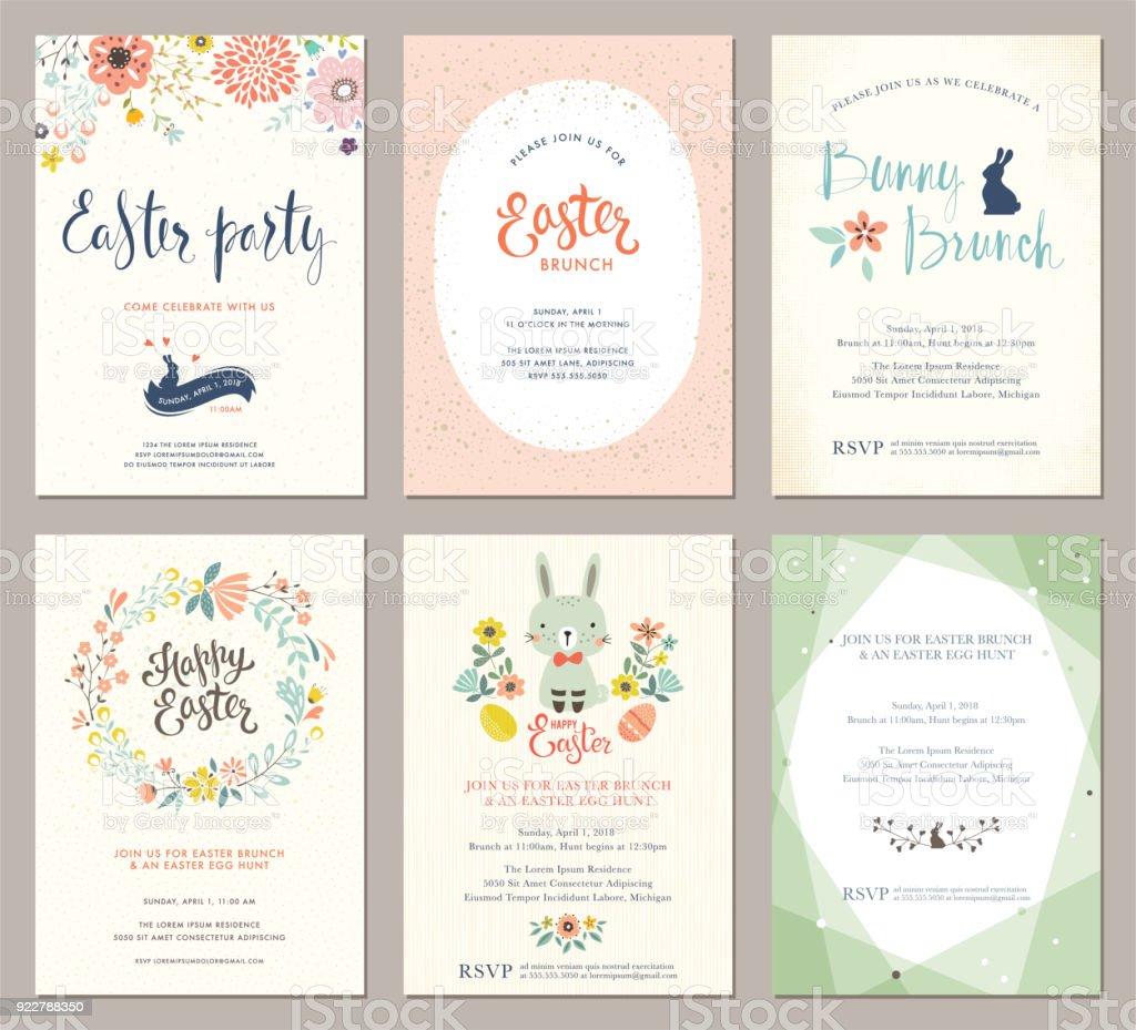Easter Party Cards Set_01 vector art illustration