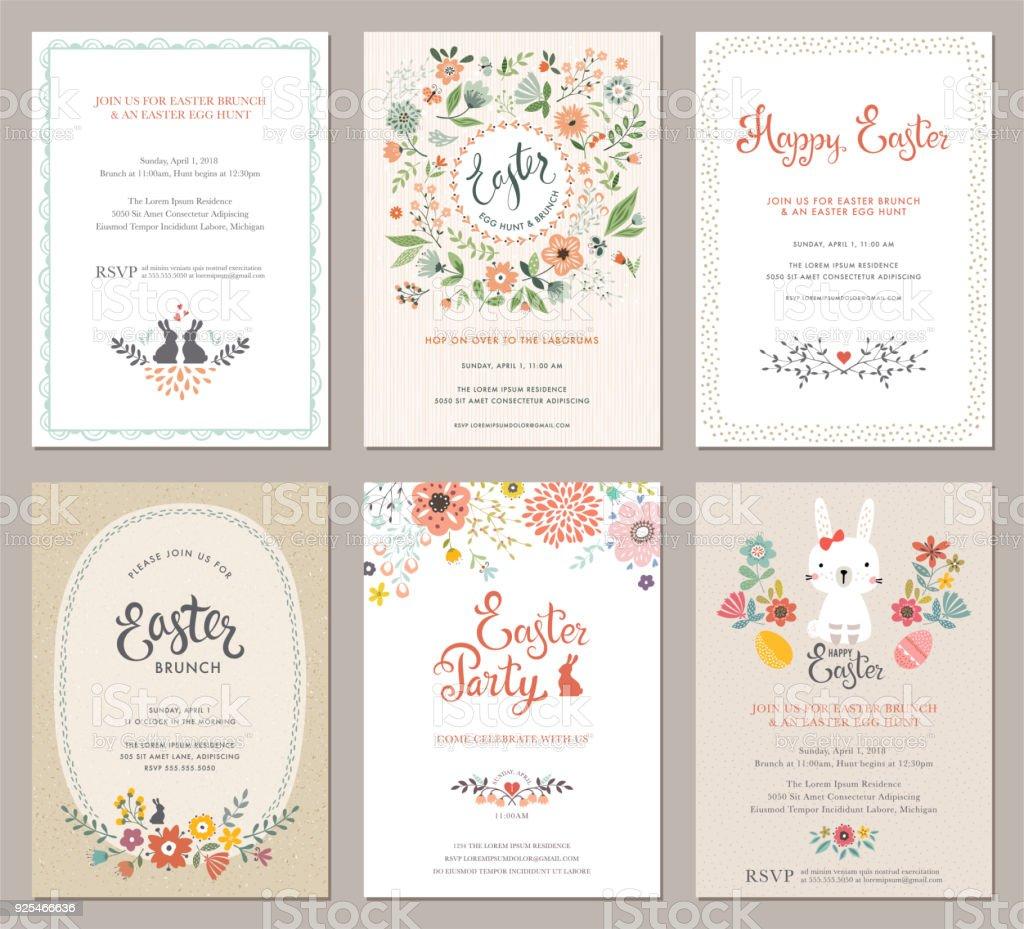 Set_02 cartes fête de Pâques - Illustration vectorielle