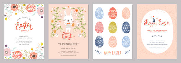 Easter Party Cards Set_08 Vector Easter Party Invitations and Greeting Cards with eggs, flowers and typographic design on the textured background. brunch stock illustrations