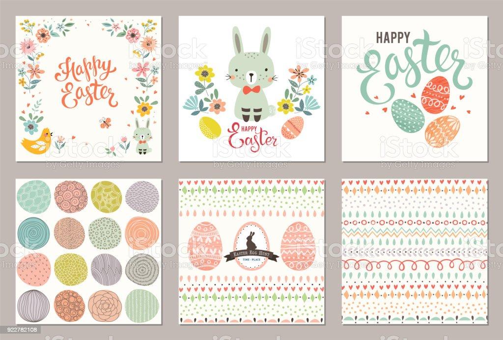 Ostern Party Cards_03 - Lizenzfrei Altertümlich Vektorgrafik