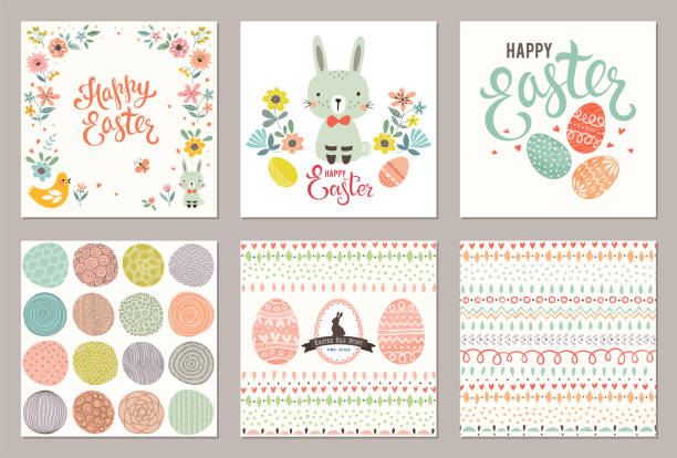 Easter Party Cards_03 vector art illustration