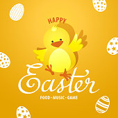 An invitation to the Easter egg hunt party with chicks on the yellow background of eggs