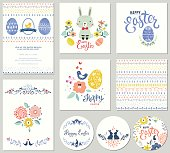 Cute Happy Easter templates with eggs, flowers, rabbit, seamless pattern and typographic design. Good for spring and Easter greeting cards and invitations. Vector illustration.
