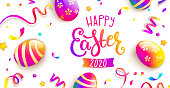 Easter party greeting card. Happy holiday with beautiful painted eggs, confetti. Great for greeting poster, ad, promotion, flyer, web-banner, article. Spring Celebration Design. Vector illustration.