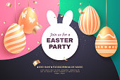 Easter party holiday banner. Composition with golden Easter eggs and confetti on a colorful background. Applicable for greeting card, sale poster, invitation, etc. Vector illustration.