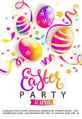 Easter party invitation card. Happy holiday with beautiful painted eggs, confetti. Great for greeting poster, ad, promotion, flyer, web-banner, article. Spring Celebration Design. Vector illustration.