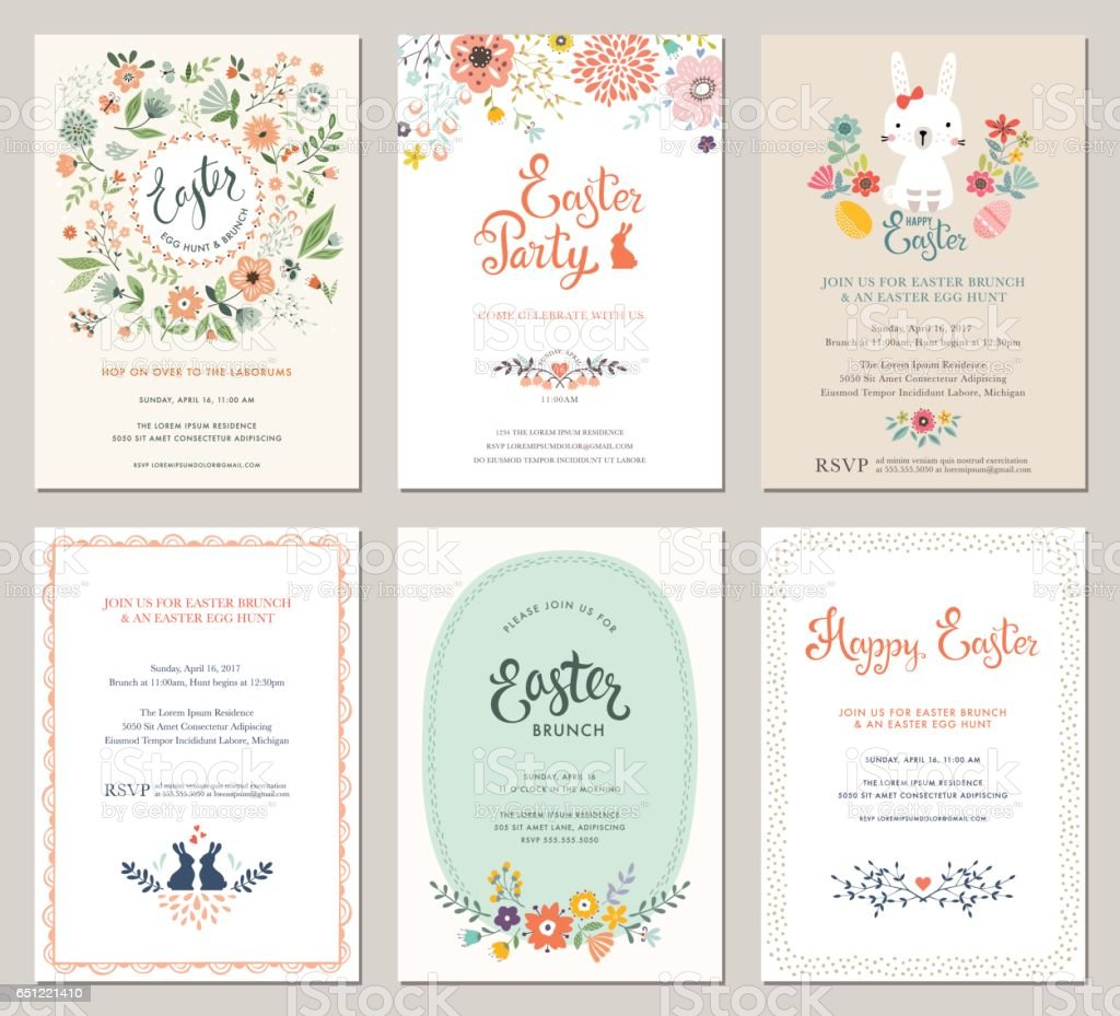 Easter Party Invitations_01 vector art illustration