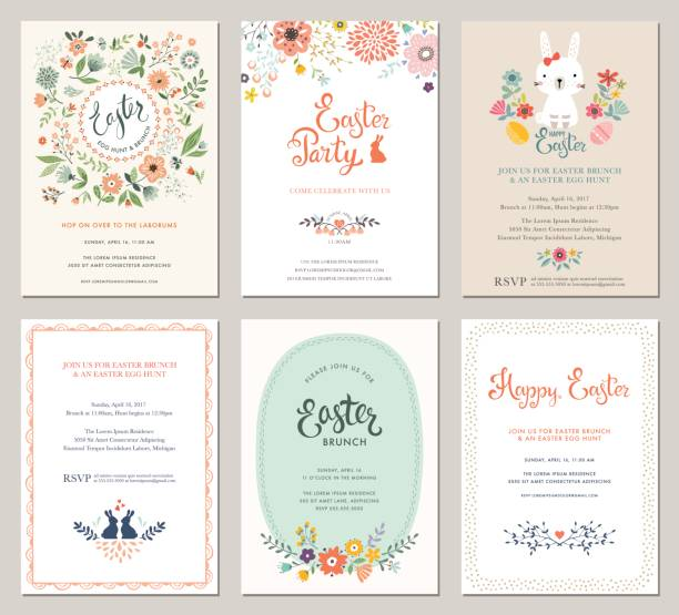 Easter Party Invitations_01 Cute Happy Easter templates with eggs, flowers, floral wreath, rabbit and typographic design. Good for spring and Easter greeting cards and invitations. Vector illustration. brunch stock illustrations