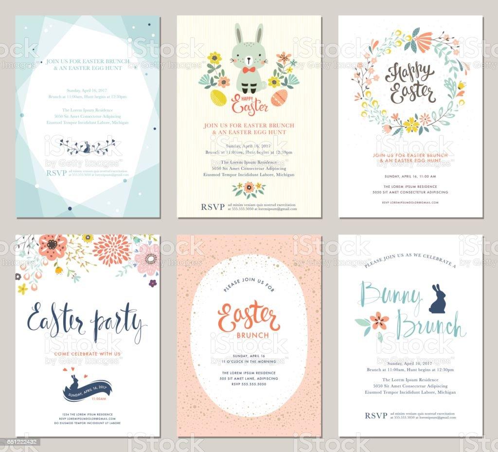 Invitations_02 fête de Pâques - Illustration vectorielle