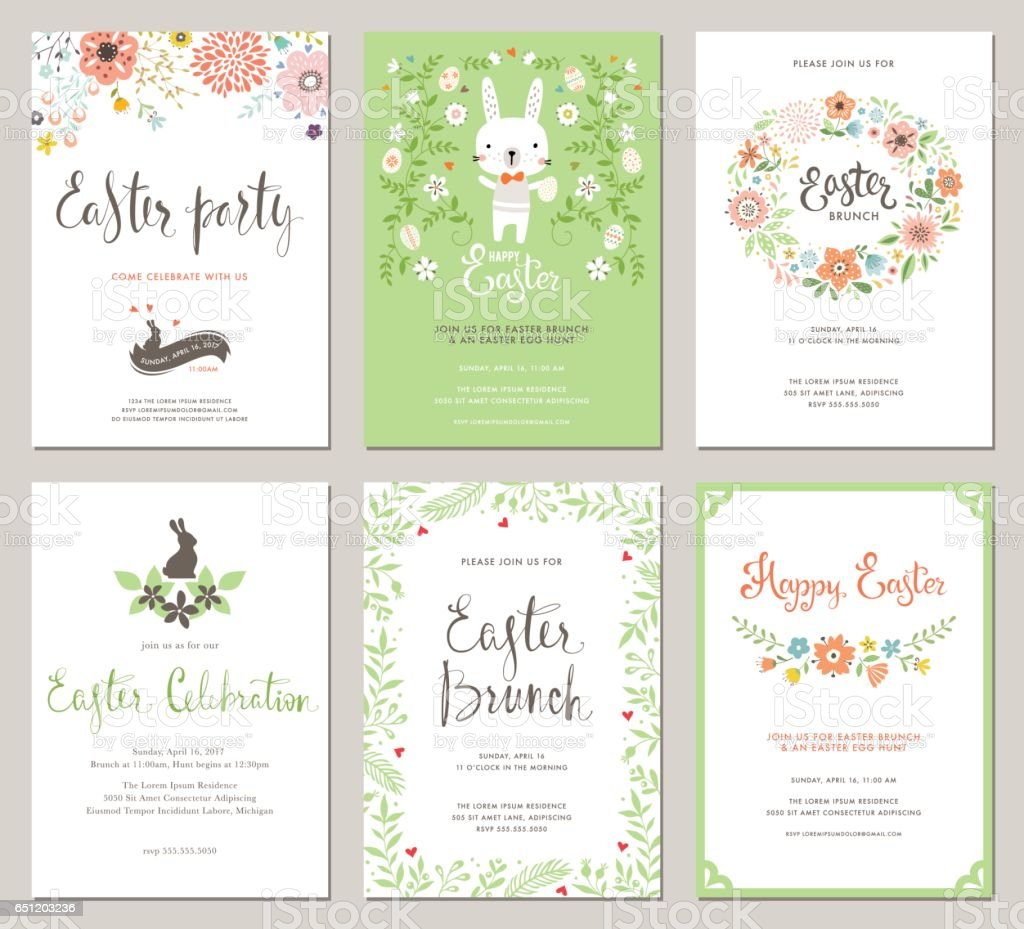 Easter Party Invitations_03 vector art illustration