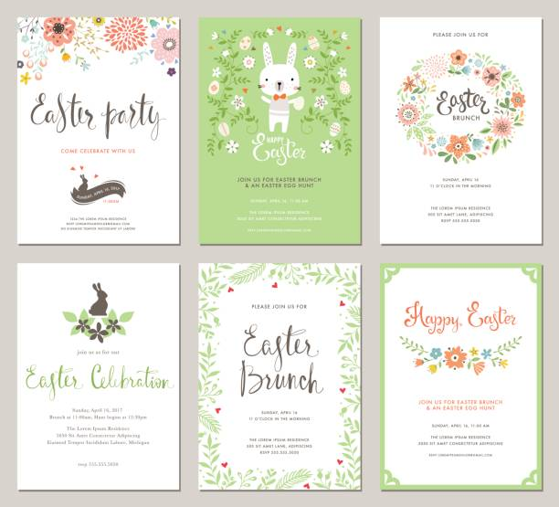 Easter Party Invitations_03 Easter Party Invitations and Greeting Cards with eggs, flowers, floral wreath, rabbit and typographic design on the textured background. Vector templates set. brunch stock illustrations